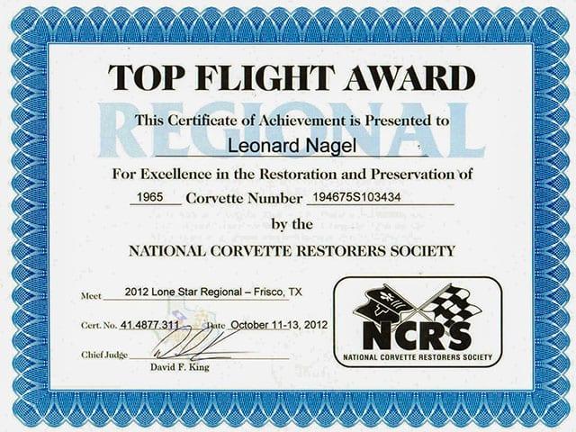 1965 White Corvette Fuelie Top Flight