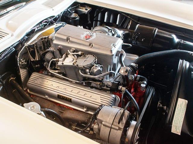 1965 ermine white corvette fuel injected convertible engine