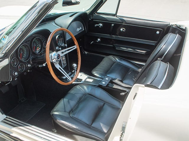 1965 ermine white corvette fuel injected convertible interior