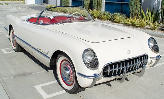 1955 White Corvette V8 Exterior
