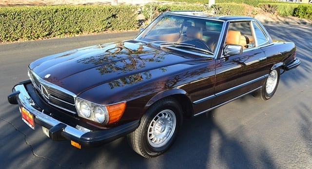 1980 brown mercedes benz 450sl coming