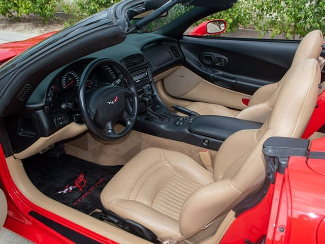 2002 red corvette convertible interior